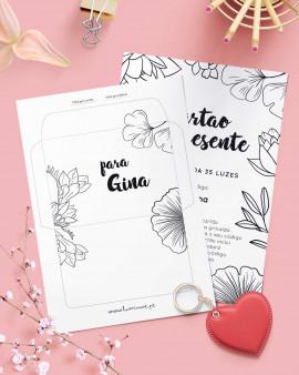 Gift Card Black White Flowers